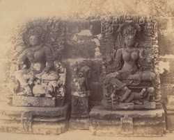Statues in the colonnade of the Chaunsath Yogini Temple, Bheraghat, Jabalpur District 10031235